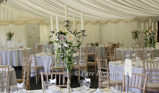 candelabra wedding table centerpieces at Wethele Manor, Warwickshire