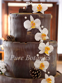 orchids on a wedding cake