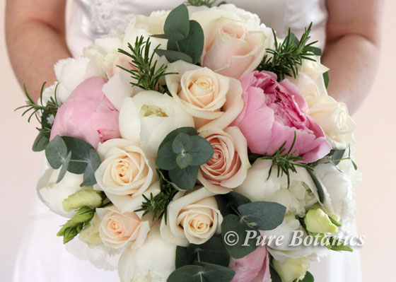 pastel pink and cream peony and rose bridal bouquet