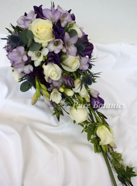 Purple and lilac coloured shower bouquet