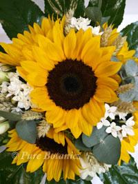 Close up of a sunflower wedding bouquet