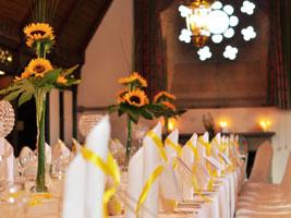 tall wedding centrepieces at Ettington Park Hotel