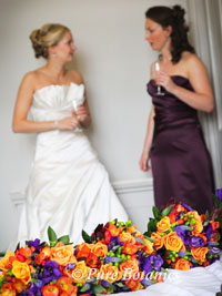 Autumn bridesmaids bouquets displayed at walton hall hotel