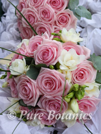 Pin rose wedding bouquet with freesias