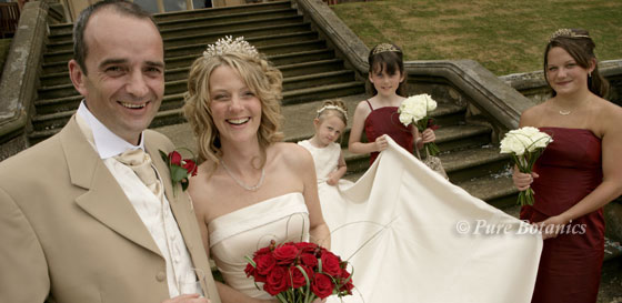 bride, groom and bridesmaids on the steps outside Welcombe Hotel, stratford upon avon