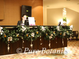 christmas garland in a hotel reception