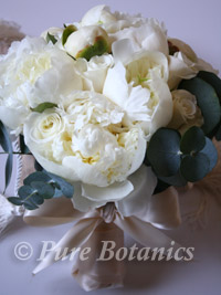 peonies and roses combined in a bridal bouquet