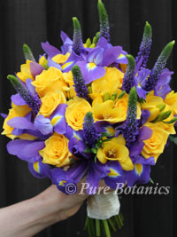 Wedding flowers at stoneleigh abbey pure botanics purple and yellow handtied posy bouquet mightylinksfo