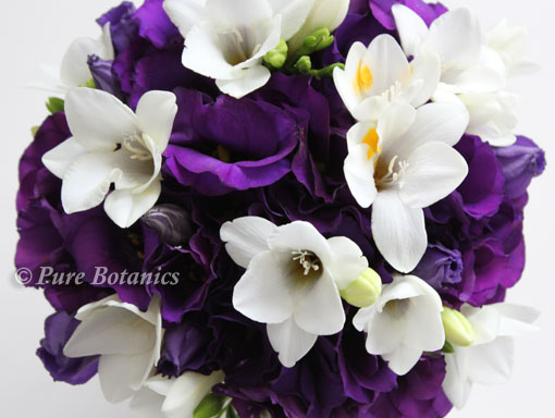 Purple wedding flowers lisianthus pure botanics bridal bouquet featuring purple lisianthus flowers mightylinksfo