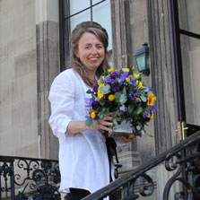 Cindy from Pure Botanics delivering wedding flowers.