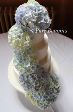 Soft blue hydrangea flowers used to decorate a wedding cake.