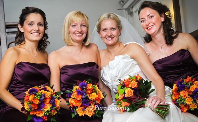 Autumn themed wedding flowers for a wedding at Walton Hall, Warwickshire.