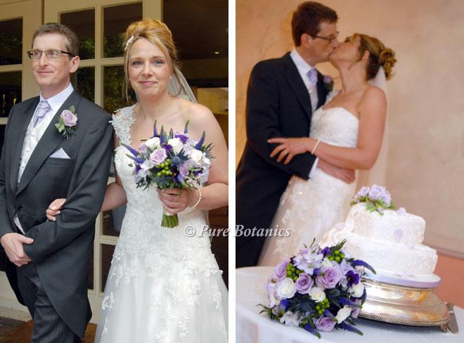 Purple vintage style bridal bouquet at Nailcote Hall
