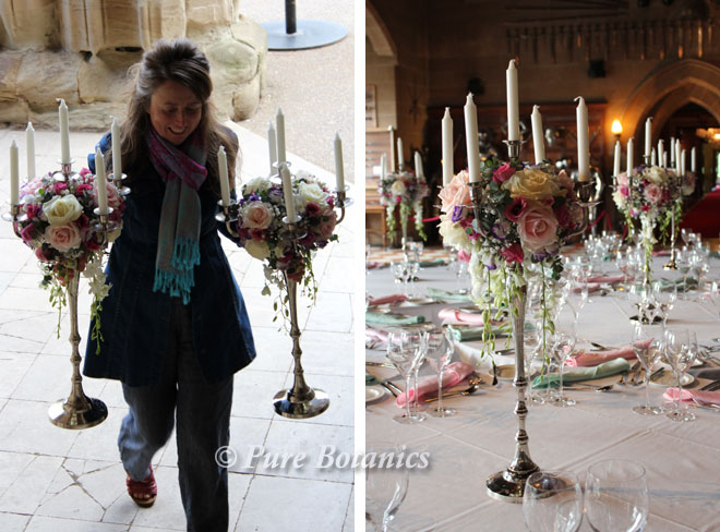Delivering candleabra centrepieces to a wedding at Warwick Castle.