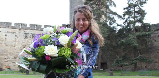 Cindy delivering wedding flowers to Warwick Castle.