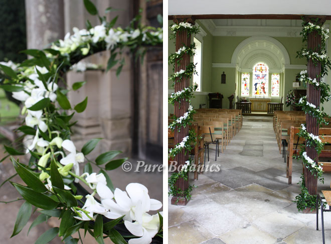 The handrails and pillars decorated with wedding flowers, St James Church Walton.