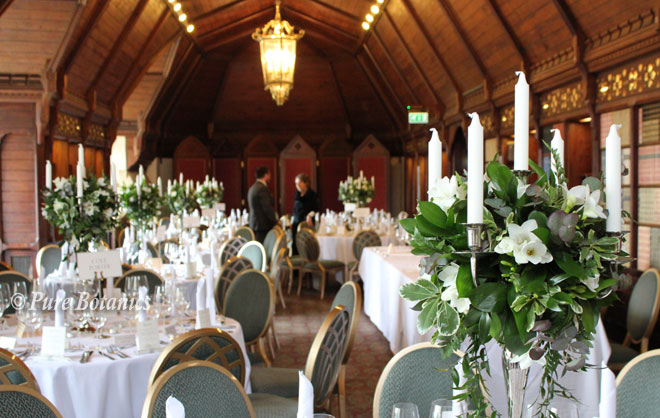 Candelabra wedding centrepieces at Ettington Park hotel.