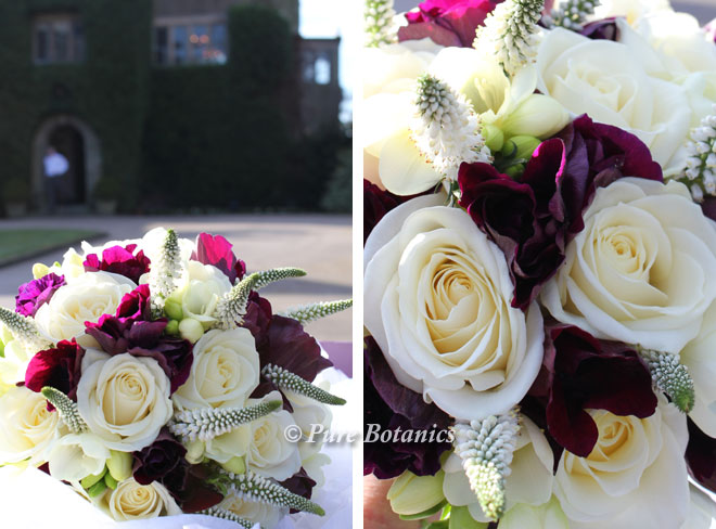 Anemone and rose bridal bouquet to Mallory Court Leamington Spa