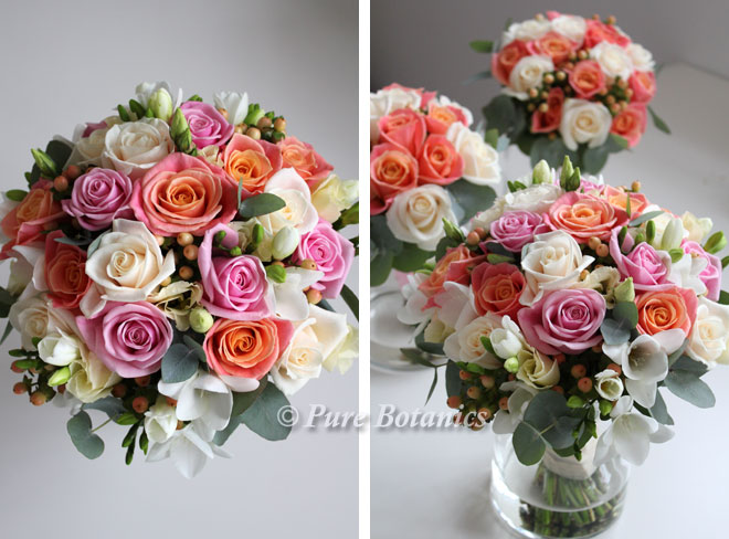 Cream pink and peach rose handtied posy wedding bouquets.