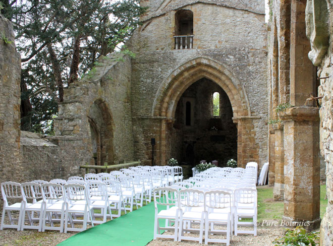 Outside wedding at Ettington Park Chapel, Warwickshire.