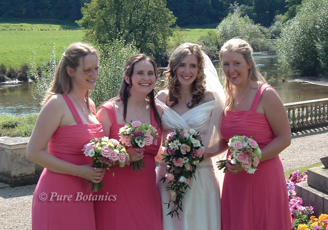 Pink bridal shower bouquet and bridesmaids posy bouquets at the river at Stoneleigh Abbey.