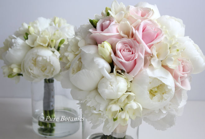 Peony and rose wedding bouquets