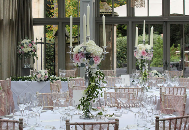 Blush Pink And Ivory Wedding Flowers Decorating Candelabras At Hampton  Manor Near Solihull.