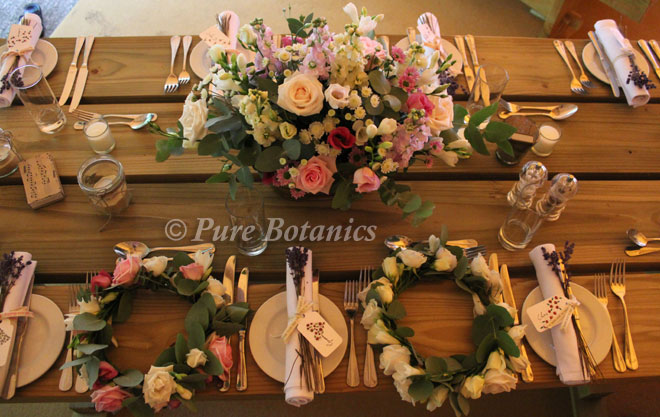Natural vintage wedding flowers for a wedding reception in a teepee in Warwickshire.
