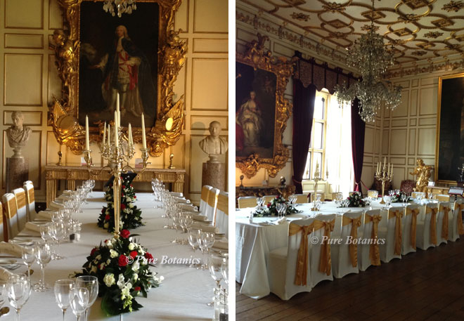 Flower arrangements for a wedding breakfast at Warwick Castle.