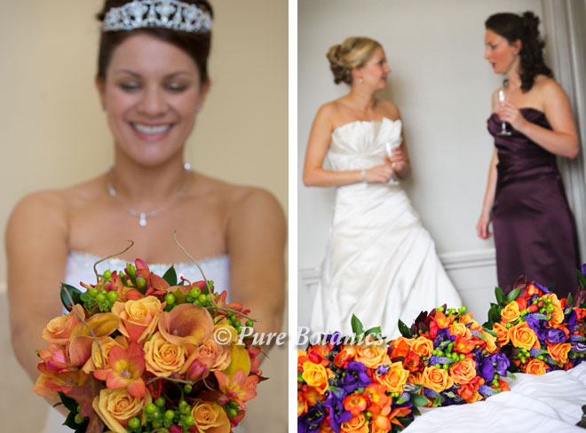 Autumn wedding bouquets at Wroxall Abbey and Walton Hall