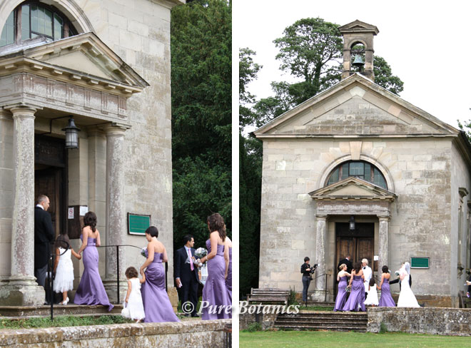 Bride and bridesmaids arriving at St James Chapel Walton with their flower bouquets.