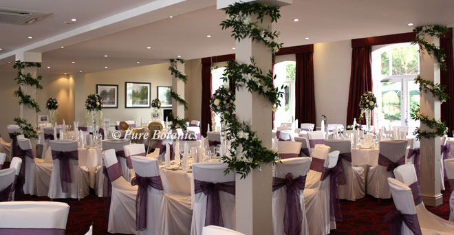 The courtyard suite at Walton Hall decorated with flowers for a wedding.