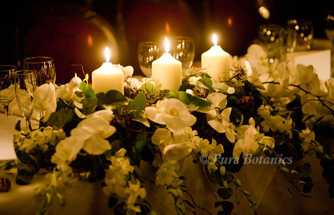 Orchid top table for a winter wedding in Warwickshire.