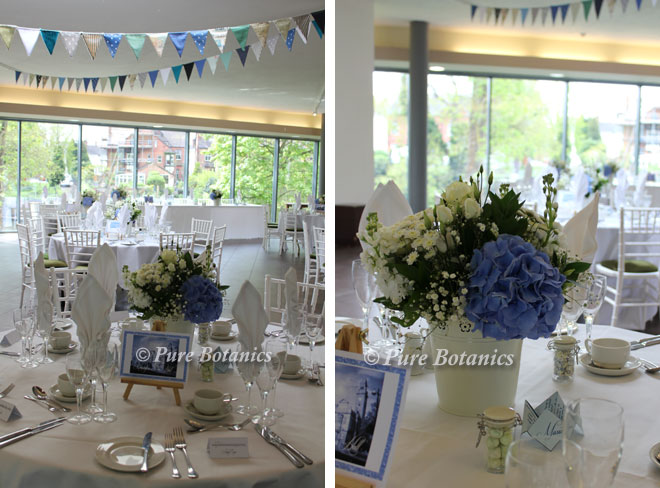 Blue hydrangea wedding centrepieces.