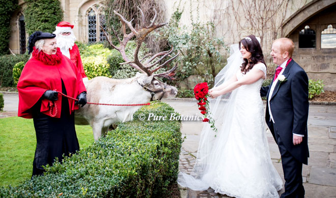 Bride meeting santa clause before here wedding at Coombe Abbey