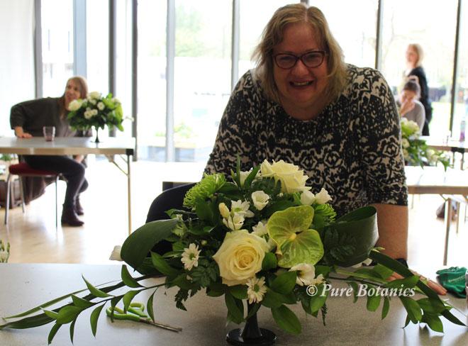 Rose and anthurium table arrangement