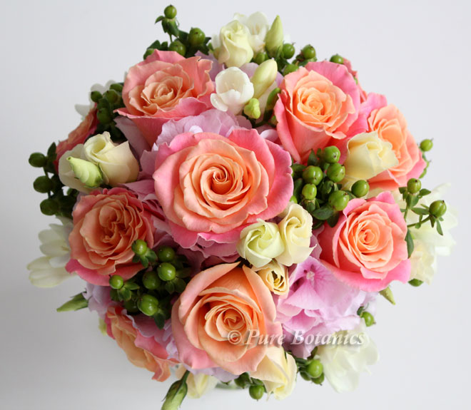 Brides posy bouquet featuring pink hydrangeas and peach 'Miss Piggy' roses.