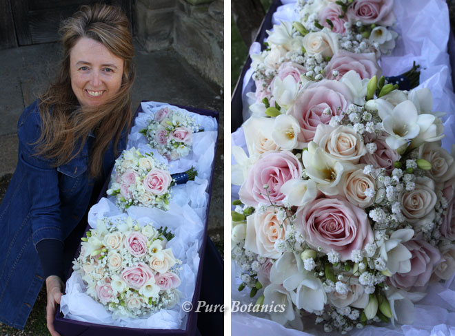 Delivering the bridal bouquets to our bride at Walton Hall.