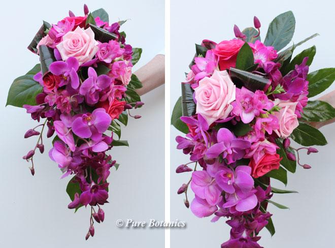 Cerise pink tropical shower bouquet.