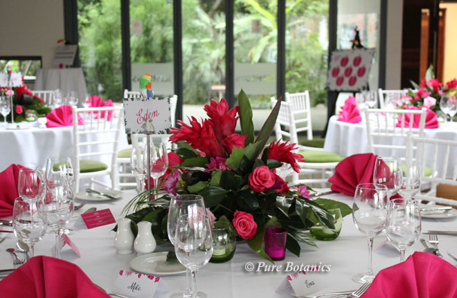 Low tropical wedding centrepieces