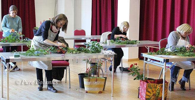 Flower wreath workshop at Warwick Arts Centre.