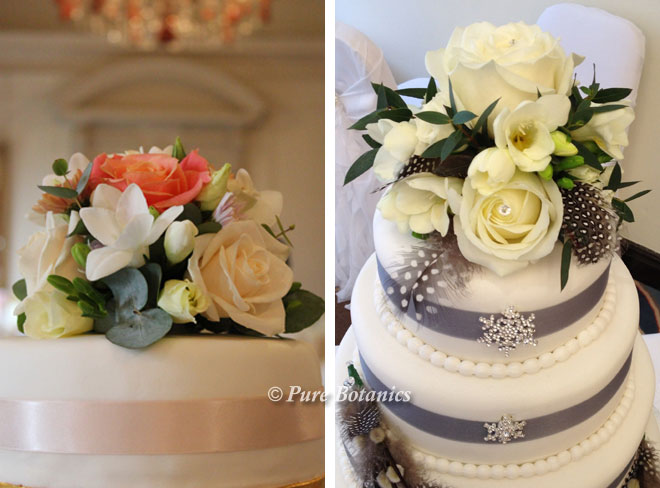 Roses and freesia cake toppers for wedding cakes.