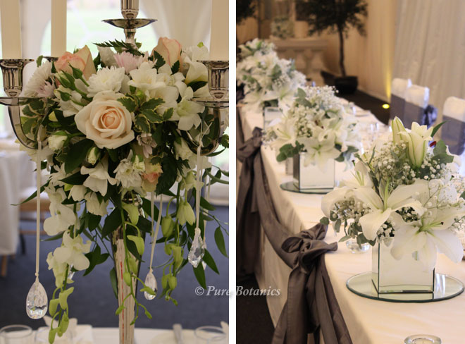 Metal, crystal and mirror to add sparkle to the wedding centrepieces.