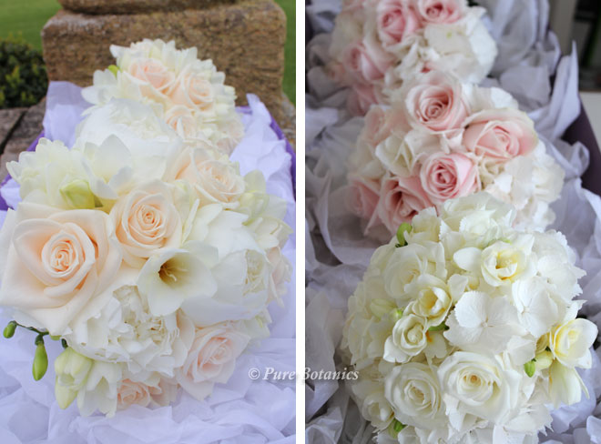 blush cream, pink and peach roses in bridal bouquets.