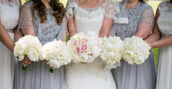 Peonie and rose handtied bridal bouquets
