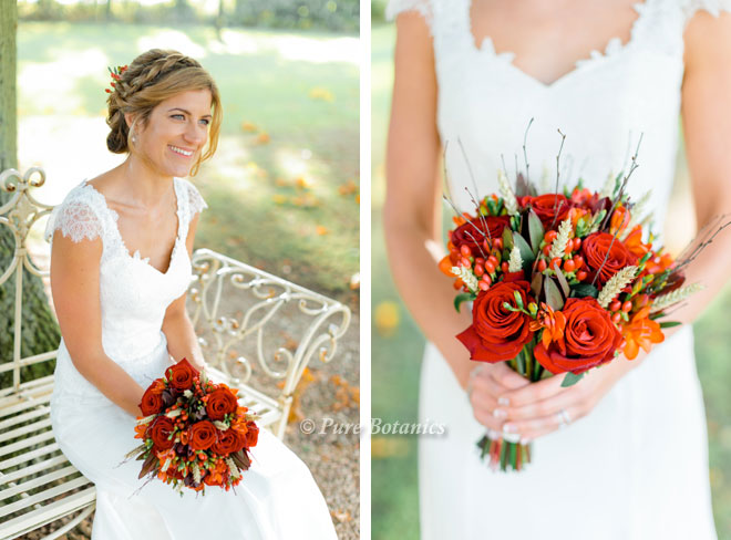 Country bridal bouquet for an autumn wedding with a harvest theme.
