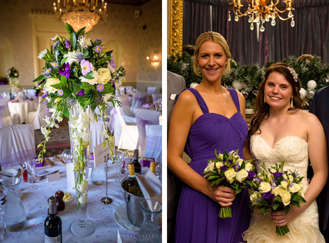 Winter wedding bouquets and table arrangements with a purple wedding colour theme.