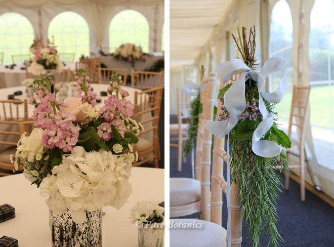 Low wedding centrepieces in the marquee at Wethele Manor.