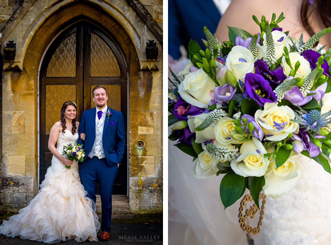 Winter wedding flowers at Walton Hall near Stratford Upon Avon.