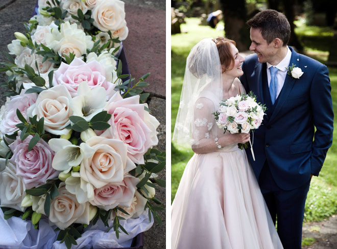 Blush pink and cream bridal bouquet photographed with the bride and groom.